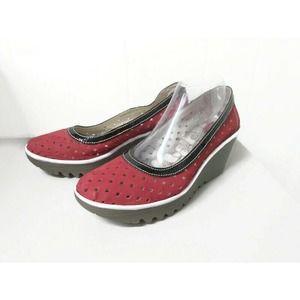 Fly London Red Black White Wedge Slip On Shoe